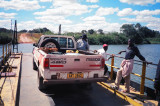 Crossing the Chambeshi by hand-pulled ferry.