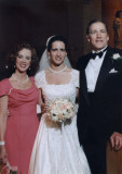 daughter Virginia in her wedding dress with me and Anne Ward on either side