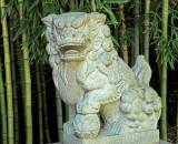 A Japanese lion statue.