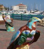 Artistic eagles grace the main plaza.