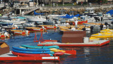 A colorful array of boats.
