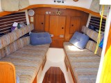 salon (can make up as queen size berth!), the head is aft to strb'd