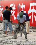Workers repare the walk way