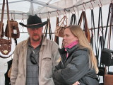 Ronnie & Sue selling their leather (Hold still Ronnie!)