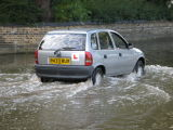 Learning to drive in flood water.