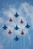 joint flight: MIG-29 x 4 fighters Strizhi (The Swifts) and Sukhoi SU-27 x 5 fighters The Russian Knights