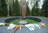 Monument to Yury Gagarin and Vladimir Seryogin on the place where they died in air crash