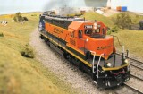BNSF 7888 leads a westbound stack train.