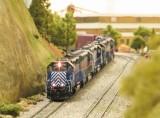 SD45-2 MRL 304 leading a train down the grade.