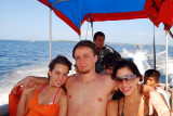 On the boat to Zapatillas Island
