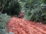 Tito, climbing a muddy hill