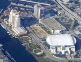 Aerial of downtown Tampa, Florida - St. Pete Times Forum