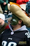 Eagles fan with a Philly Cheese Steak hat on