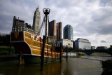 Downtown Columbus, Ohio with full-sized replica of the Santa Maria in forefront