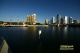 Downtown Tampa, Florida with Gasparilla pirate ship