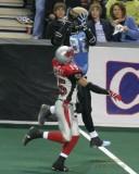 Kansas City Brigade WR Boo Williams leaps for a TD