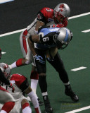 Grand Rapids Rampage DB Trey Bell right before stripping the ball