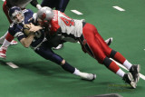 Grand Rapids Rampage lineman Bryan Henderson sacks Chicago Rush QB Matt D'Orazio
