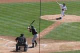 Tigers pitcher Justin Verlander pitching to White Sox designated hitter Jim Thome