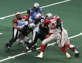 Grand Rapids Rampage LB Johnnie Balous gets a sack
