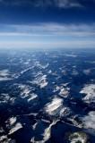 Aerial of mountians approaching Salt Lake City, UT