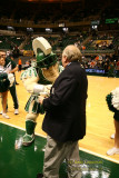 Michigan State mascot Sparty with CBS announcer Verne Lindquist