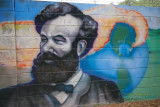 Wall mural of Jules Verne at Ballast Point Pier in Tampa, Florida