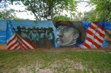 Wall mural of Teddy Roosevelt at Ballast Point Pier in Tampa, Florida