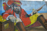 Wall mural at Ballast Point Pier in Tampa, Florida