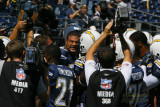 San Diego Chargers linebacker Shawn Merriman get his team charged