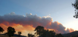 Panorama of smoke from the Tatong Fire at sunset on 11th January 2007
