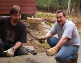Ben and John rebuilding the stone steps