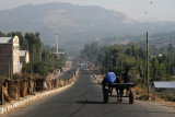 Traveling into Gondar by horse-drawn cart