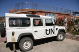 A UN vehicle at the Remhai Hotel in Axum
