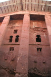 Bet Medhane Alem.  Note upper windows with design reminiscent of the top of the pre-Christian Ezana Stela in Axum.