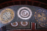 Intricate paintings on the ceiling of Bet Maryam Church