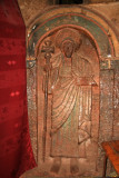 Carving of an Ethiopian saint inside Bet Golgotha.  This is the only church in Lalibela in which women are not permitted.