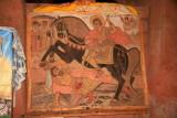 A painting in Bet Mercurios, showing Saint Mercurios killing the evil King Oleonus.