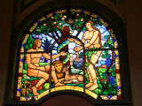 Kiddist Selassie has a series of beautiful stained glass windows depicting scenes from the Bible.  Here, the Garden of Eden.