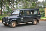 Our safari vehicle -- Land Rover used by Volcanoes Safaris