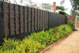 This wall lists the names of a few of the victims buried at the Kigali Memorial Center.