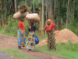 Rwandan women meet and converse by the road