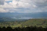 Lake Mutanda nestled in the surrounding mountains.