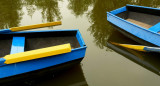Two blue boats