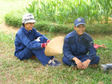 Workers resting in the shade