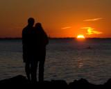 sunset over lake o
