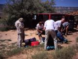 Preparing the rucksacks