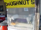 WE TOOK A RAIN CHECK ON THE DOUGHNUTS AT THE FLEA MARKET.......GREASE ON THE WINDOW DID IT FOR US