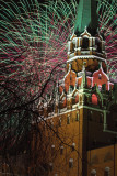 fireworks over Spasskaya tower. The Kremlin. Moscow