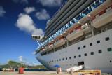 Thomas-ship docked at new Crown Bay
